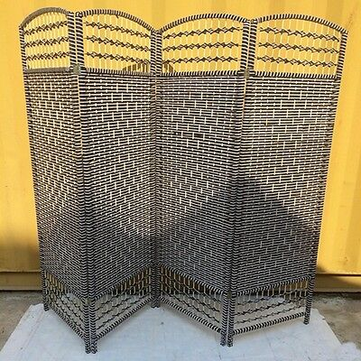 1X Black Knitted Room Divider 4 Panels Folding Screen