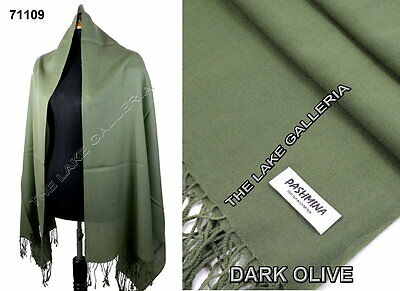 Plain Color Olive Green 100% Real Pashmina Cashmere Wool Shawl Wrap Scarf New