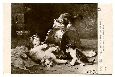 vintage cat postcard Huber cats kittens play on and round big copper pot B&W