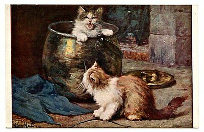 vintage cat postcard Huber cats kittens play in and round big copper pot