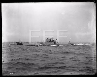 1920 US Navy Submarine SS 4 Torpedo Boat GLASS Old Photo Negative 571A