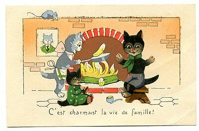 vintage cat postcard 3D black cats family cook on open fire mouse watches
