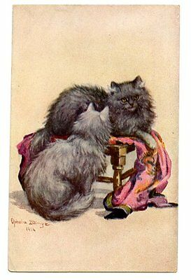 Billinge vintage cat postcard beautiful longhaired grey cats sat on coffee table