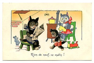 vintage cat postcard 3D black cats family read newspaper play w toy sew mouse