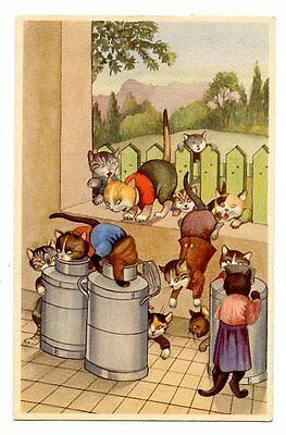 vintage cat postcard curious dressed cats play in milk containers 1949