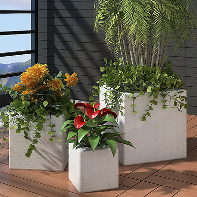S# 3pc White Wicker Rattan Planter Box Square Garden Pot Plant Flower Outdoor Se