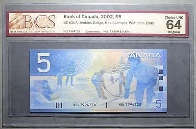 CANADA $5 2005 HOL(7.840-8.000M) - REPLACEMENT - BCS Graded - CHOICE UNC 64