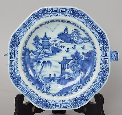 c1800 Nanking Chinese Export Porcelain Blue White Warming Plate
