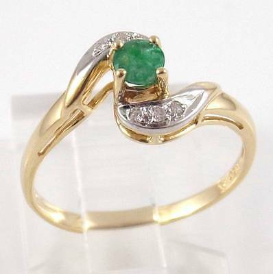 Solid 10K Yellow Gold Natural Diamond Emerald Ring Size 6.75