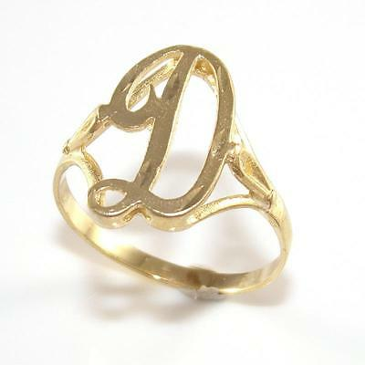 14K Yellow Gold Initial Letter D Script Band Ring Size 9 QR1
