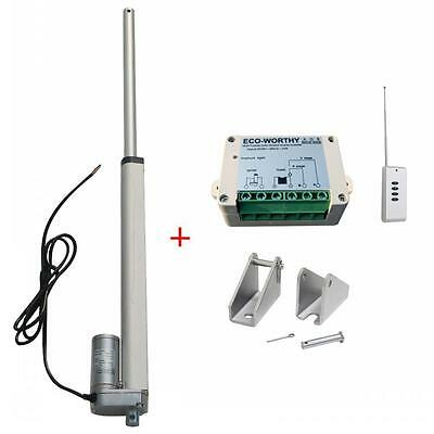 """High Speed 12"""" Linear Actuator W/ Remote Control Heavy 12 Volt 5.7mm/s 330lbs"""