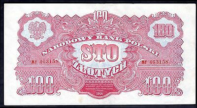 Poland. 100 Zloty. MY 463158, 1944. Good Very Fine.