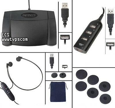 IN-USB-2 INUSB-2 Transcription Foot Pedal with SP-USB Underchin Headset and Hub
