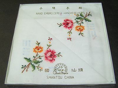 2 Vintage White Handkerchiefs Cotton Hand Embroidered Rolled Pink Rose Flowers