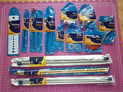 13 Piece Knitting Needles & Accessories Set By Korbond--New--