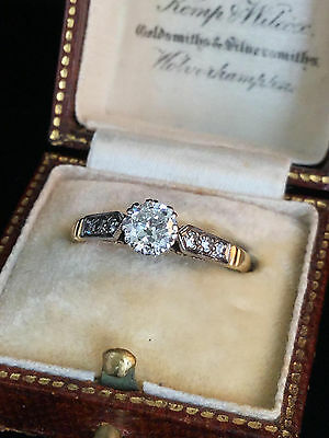 Fine Art Deco 18ct & Platinum Diamond 0.50ct Solitaire engagement ring C1920