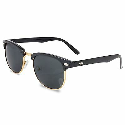 Classic Retro 1980'S Vintage Black & Gold Clubmaster Sunglasses Full Uv400