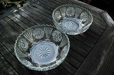 Lovely PAIR of VINTAGE CRYSTAL CUT GLASS FRUIT BOWLS * Excellent Condition *