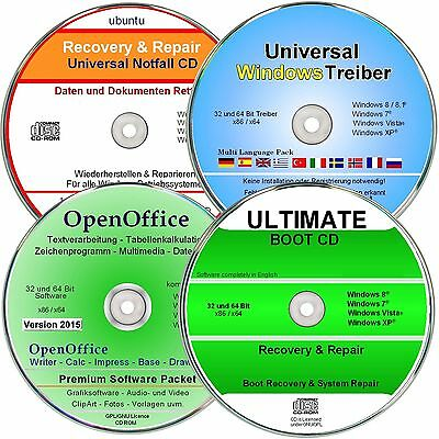 Windows Treiber DVD, OpenOffice Paket, Recovery, Ultimate Boot   ✔ 4 CD/DVD`s