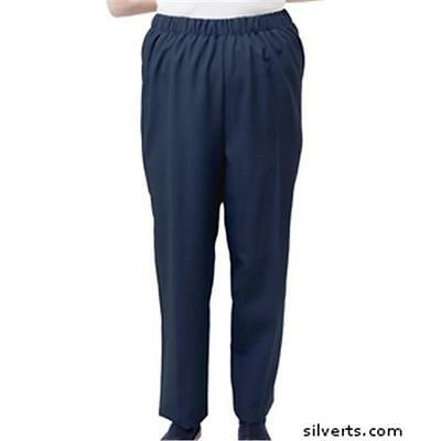 Womens Adaptive Disabled Adults Open Back Wheelchair Back Snap Pant, Navy Small