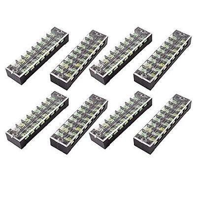 8 Pcs Dual Row 8 Position Screw Terminal Block Strip 600V 25A w Cover New