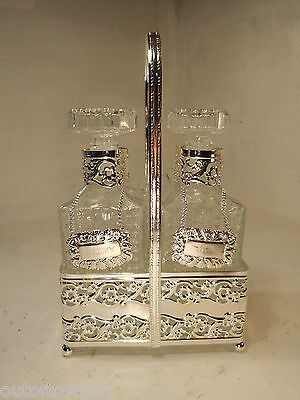 2 Bottle Decanter Set , Silver Plate Stand , Tantalus    ,      ref 2524