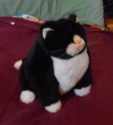 Black and white fat soft toy cat