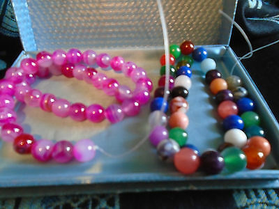 MIXED LOT JEWELLERY loose AGATE BEADS PINK/MIXED 115g
