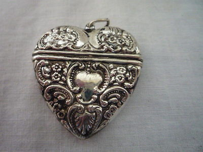 A Stunning Decorative Rococo Heart Silver Plated Vesta Case or Box Collectable