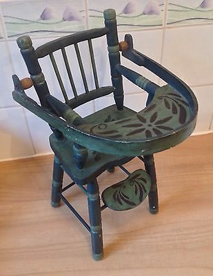 Vintage Dolls High Chair Wooden Bargeware Painted Canal Barge Ware