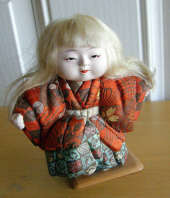 "Japanese kimekomi doll ""Shishi-no-Mai"" Lion Dancer with white hair, Showa period"