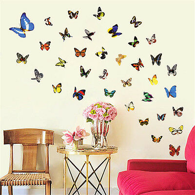 80 Pcs Colorful Butterfly Sticker Art Vinyl Decals Wall Stickers Home Room Decor