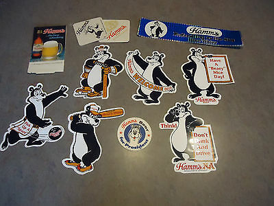 11pc lot Hamms beer Bear advertising stickers decals coaster sign  man cave bar