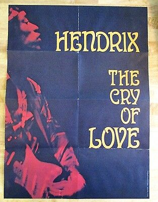 Jimi Hendrix Rare Poster For Cry Of Love Canadian Issue + Bonus