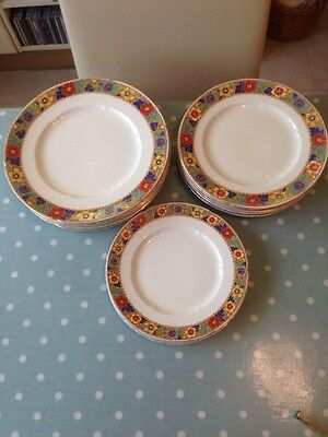 Vintage W H Grindley Ivory 15 Piece Plate Set From The 1930s. Ref. No. 714550