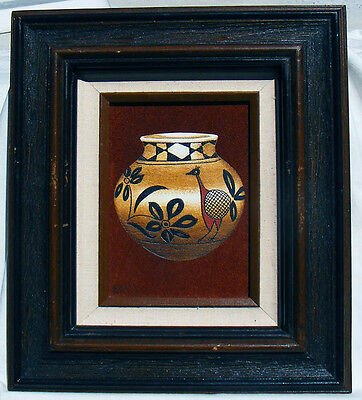 "Erv Johnson Native American Southwest Hopi Pottery Pot Painting on Suede 5""x 7"""