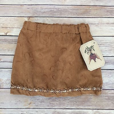 BEETS 'N SNIPS Girls Size 4 Brown Faux Suede Skirt NWT