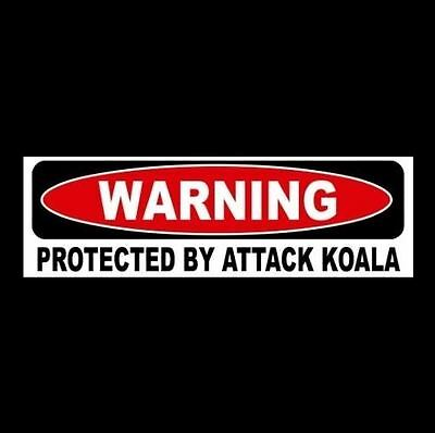 "Funny ""PROTECTED BY ATTACK KOALA"" decal BUMPER STICKER, sign, bear, Australian"