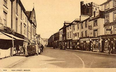 BRECON High street Powys Breconshire Mid Wales old Postcard unused