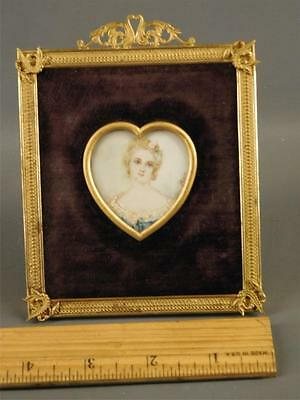 Antique French Miniature Hand Painted Lady Portrait Dore Bronze Frame Signed