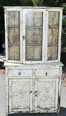 Painted White Cabinet with Glass Doors, Drawers & Storage, Small Size