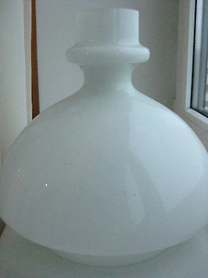 """Antique  White Glass Oil Student Lamp Shade Fitter 8 1/4"""""""
