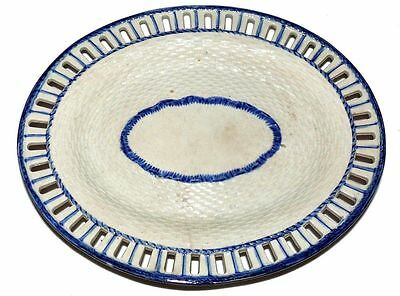Antique Pearlware Reticulated Oval Pottery Serving Platter Blue White Unmarked