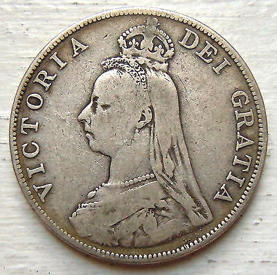 GREAT BRITAIN KM# 763, 1890 DOUBLE FLORIN SILVER 36mm F (3 Photos)