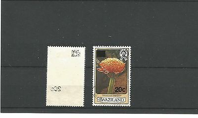 Swaziland 20c overprint - offset on rear - Used