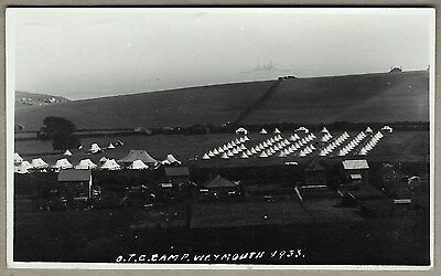1933 Real Photo PC - O.T.C. Camp Weymouth with Warship in the background