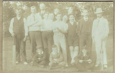 Original Edwardian era Real Photo Postcard - Cricket players with children
