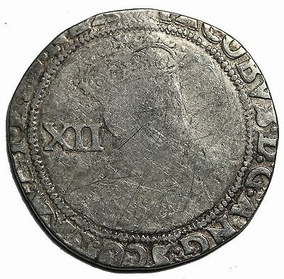 Great Britain James I 1603-1625 AD Silver Shilling Medieval Coin S.2646 MM Lis