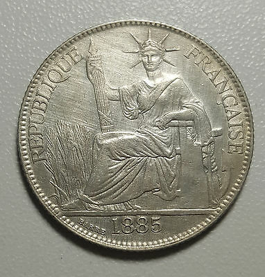 1885 A French Indo China 20 Cents KM# 3 Rare Silver Coin EF+