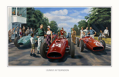 Sunny Afternoon 1957 French GP Ferrari Hawthorn Maserati Fangio Ltd Ed Print